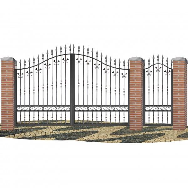 Puerta de valla en hierro forjado pv0001 forja rafael c b - Vallas de forja ...