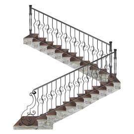 Wrought iron staircase E0002