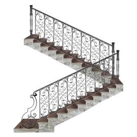 Wrought iron staircase E0004