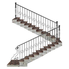 Wrought iron staircase E0006