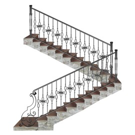 Wrought iron staircase E0007