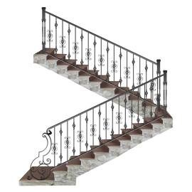 Wrought iron staircase E0008