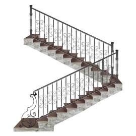 Wrought iron staircase E0010
