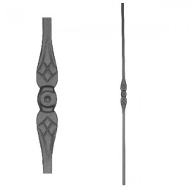 Wrought iron stamped heavy bar 556-03