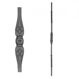 Wrought iron stamped heavy bar 556-07