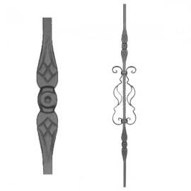Wrought iron stamped heavy bar 556-09