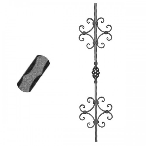 Wrought iron pierced heavy bar 600-33