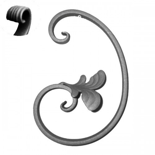 C with wrought iron leaves 053-05