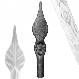 Wrought iron wooden spear